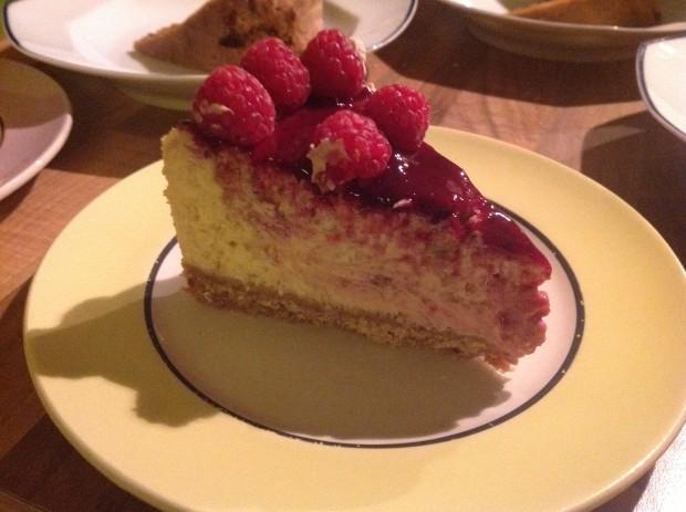 Slice of cranachan cheesecake